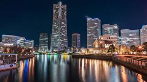 Обои Япония Дома Пирсы Залива Ночью Уличные фонари Yokohama Города