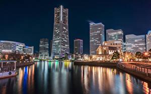 Обои Япония Дома Пирсы Залива Ночью Уличные фонари Yokohama