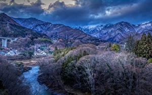 Фото Япония Горы Речка Деревья Gunma