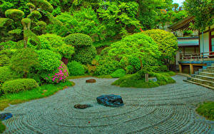 Обои Япония Парк HDRI Дизайн Кустов Деревьев Kamakura Природа