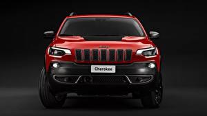 Картинки Джип SUV Красных Металлик Спереди Cherokee, Trailhawk, 2019 авто