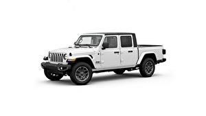 Обои Джип Белых Пикап кузов Белый фон Сбоку Gladiator, 2020 Автомобили