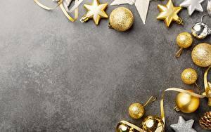 Картинка Украшения Рождество Шар Сером фоне Шаблон поздравительной открытки