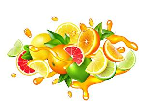 Обои для рабочего стола Сок Цитрусовые Лайм Лимоны Грейпфрут Векторная графика Белом фоне С брызгами Пища