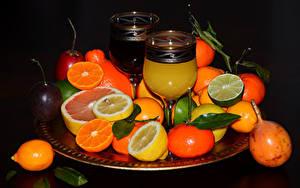 Фотографии Сок Цитрусовые Мандарины Лимоны Фрукты Бокал Пища