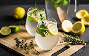 Картинки Сок Лимоны Мохито Стакана Разделочной доске Продукты питания