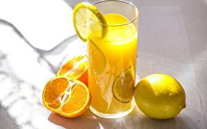 Картинки Сок Лимоны Апельсин Стакан Продукты питания