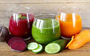 Фотографии Сок Овощи Огурцы Морковь Стакана Три Пища