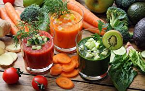 Картинка Сок Овощи Морковка Помидоры Укроп Стакана Продукты питания