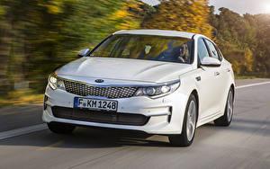 Обои Киа Движение Белый Спереди Седан Optima 2015 Автомобили