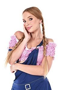 Картинки Kaisa Nord iStripper Коса Русые Белый фон Смотрит Руки молодая женщина