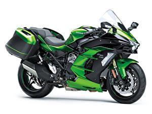 Фотографии Kawasaki Белый фон Сбоку 2018-20 Ninja H2 SX мотоцикл