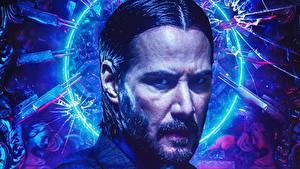 Картинки Keanu Reeves Мужчина Джон Уик 3 Лицо Фильмы