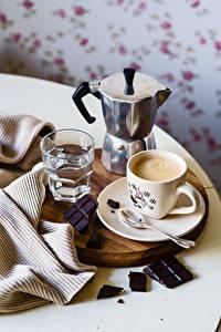 Фотография Чайник Кофе Шоколад Чашка Стакан