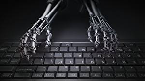 Картинки Клавиатура Руки Робот Компьютеры