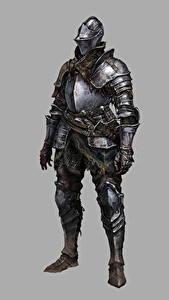 Картинка Рыцарь Dark Souls 3 Броня Серый фон Игры Фэнтези