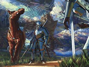 Обои Рыцарь Средневековье Лошади Доспехе Меча Фантастика