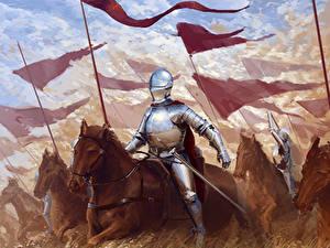 Картинка Рыцарь Средневековье Лошадь Доспехе С копьем С мечом Фэнтези