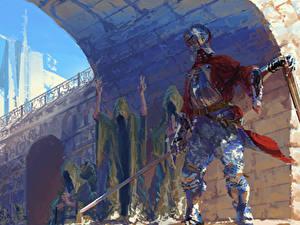 Картинка Рыцарь Средневековье Доспехи С мечом Фэнтези