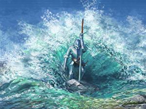 Фото Рыцарь Вода Волны Доспехе Меч С брызгами Фантастика