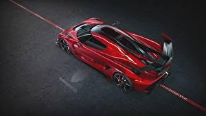 Обои Koenigsegg Сверху Красные Металлик 2019 Jesko 1600 Cherry Red Edition автомобиль