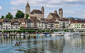 Картинка Озеро Замок Швейцария Речные суда Castle Rapperswil, Rapperswil-Jona, lake Zurich город