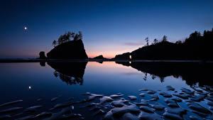 Картинка Озеро Скала Ночью Силуэт Природа