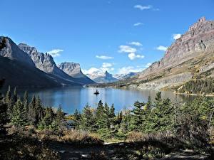 Картинки Озеро Горы Канада Скале Ель Rocky Mountains, Lake Moraine, Alberta