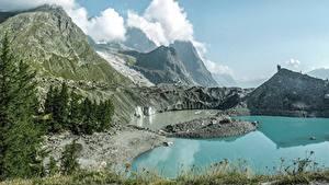 Фотография Озеро Гора Италия Скала Альп Природа