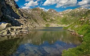 Фото Озеро Камни Гора Швейцария Tomasee, Piz Badus Природа