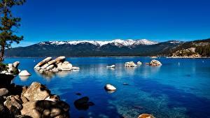 Картинки Озеро Камень Горы США Калифорнии Lake Tahoe, Sierra Nevada