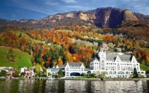 Обои для рабочего стола Озеро Швейцария Осенние Гора Гостиница Park Hotel Vitznau, Lake Lucerne город