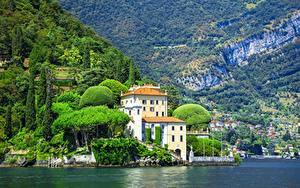 Обои для рабочего стола Озеро Вилла Италия Горы Villa del Balbianello, Feudal, lake Como Города