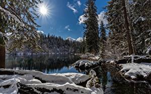 Фотографии Озеро Зимние Швейцария Солнца Снега Lake Cresta Природа