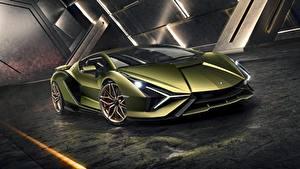 Обои Lamborghini Sián V12 mild-hybrid 2020 Автомобили