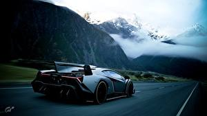 Фотография Lamborghini Gran Turismo Дороги Вид сзади Veneno Автомобили
