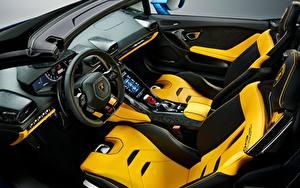 Картинки Lamborghini Салоны Дизайн Рулевое колесо Huracan EVO, RWD, 2020, Spyder