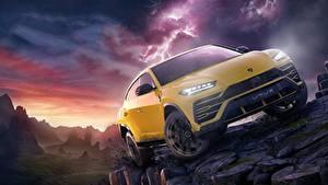 Картинки Lamborghini Желтый Urus Forza Horizon 4 Авто