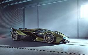 Обои Ламборгини Сбоку Зеленая Vision Gran Turismo 2019 Lambo V12 Автомобили