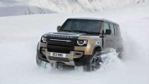 Картинка Land Rover Снег Движение Внедорожник Спереди Defender 110, P400 X, 2020 авто