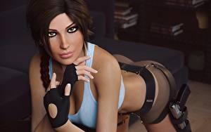 Картинки Лара Крофт Красивые Смотрит Шатенка Руки Игры Девушки 3D_Графика