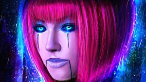 Фото LOL Косметика на лице Лица Волосы Розовая Orianna Lady of Clockwork компьютерная игра Фэнтези Девушки