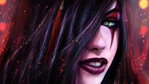 Обои League of Legends Мейкап Волос Брюнетка katarina fan art Sinister Blade Игры Фэнтези Девушки
