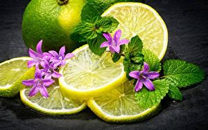 Картинка Лимоны Лист Еда