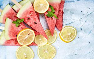 Фото Лимоны Арбузы Кусок Пища