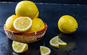 Картинки Лимоны Корзина Кусок Продукты питания