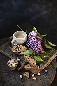 Фотография Сирень Кофе Орехи Хлеб Доски Ветки Чашка Пища Цветы