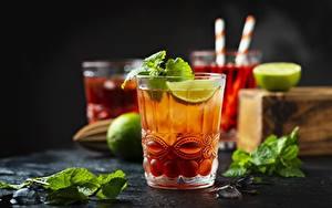 Картинка Лайм Напиток Коктейль Мятой Стакан Еда