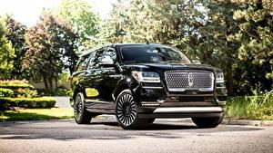 Картинка Lincoln Внедорожник Черный Металлик Спереди Navigator, L Black Label, 2017 Автомобили
