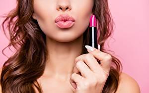 Фото Губы Руки Lipstick Девушки